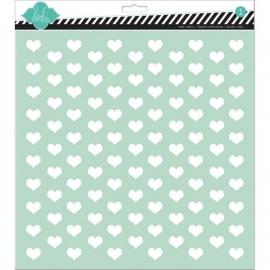 Heidi Swapp - Spray / achtergrondstencil - Tiny Hearts - 30,5 x 30,5 cm