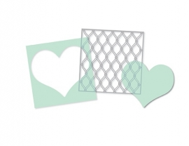 Heidi Swapp Mixed Media Stencils - Heart, Cut Out Heart & Fence (3 stuks)
