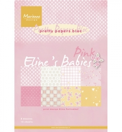 Marianne Design -  A4 Pretty Papers Bloc - Eline's Babies pink