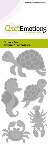 CraftEmotions - Die - Schildpad, zeepaardje - Card 5x10cm