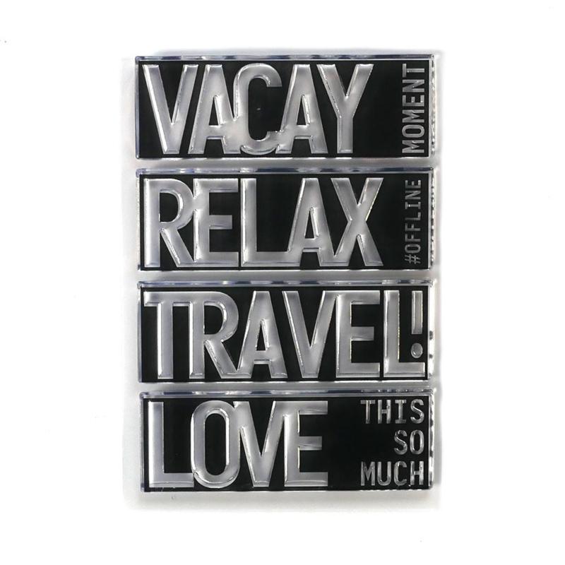 Elizabeth Craft Designs - Block Words - Travel - clearstamps