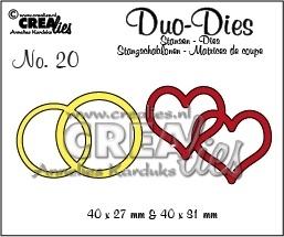 Crealies - Duo Die no. 19 dubbele ring en hart