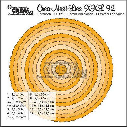 Crealies Crea-Nest-Lies XXL no 92 Cirkels met ruwe randen CLNestXXL92 135 x 135mm