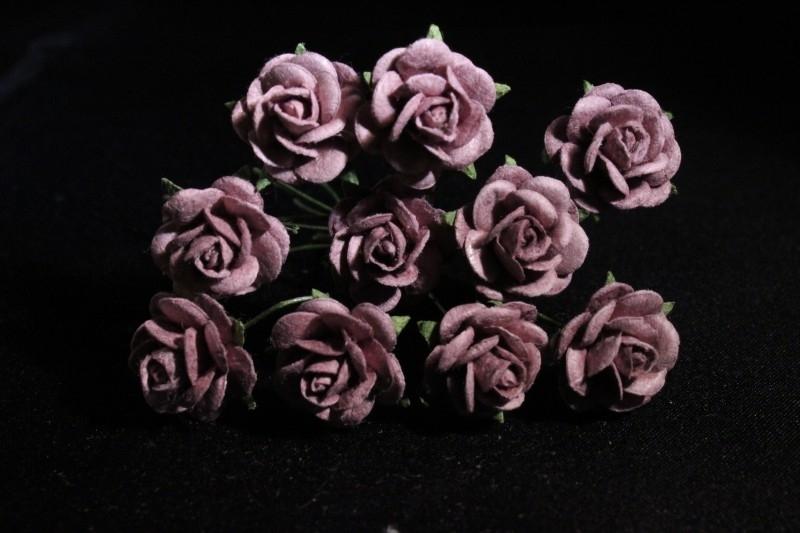 WILD ORCHID CRAFTS - MULBERRY PAPER OPEN ROSES 15 mm Sepia Brown - bosje met 10 stuks