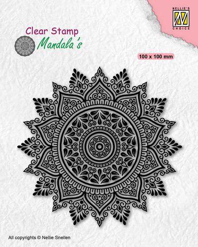 Nellies Choice - Clearstamp - Mandala - Zonnebloem - 2 CSMAN008 - 100x100mm