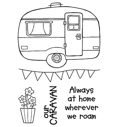 Woodware Clear Stamp Set Caravan