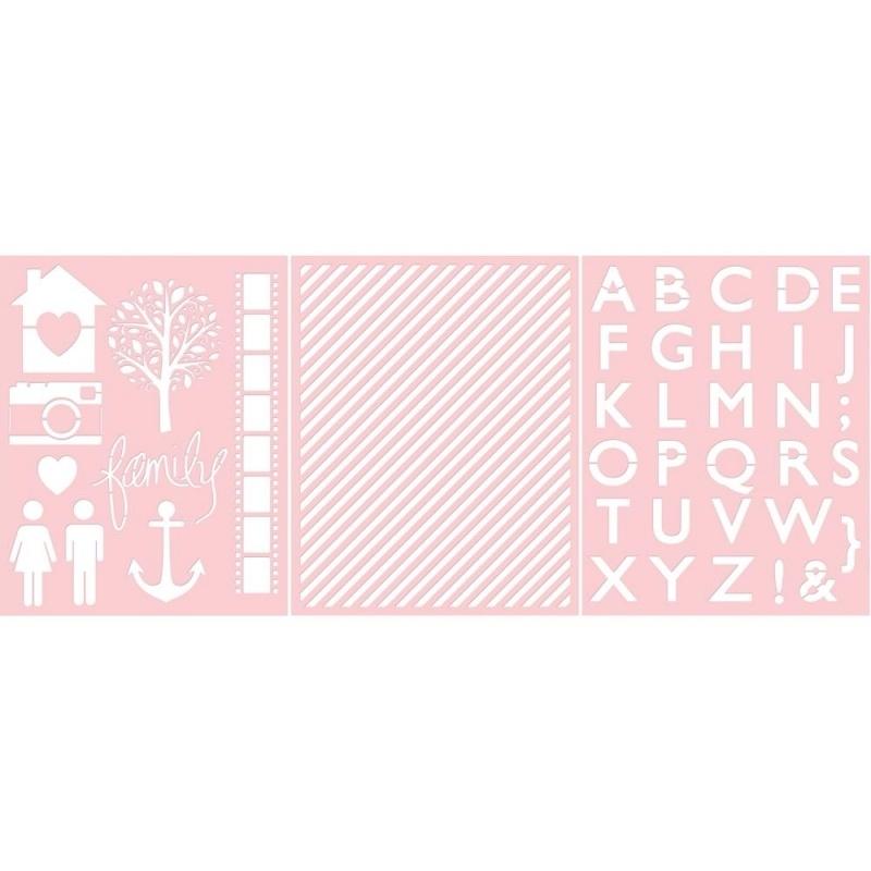 Basically Essential Stencils Family, Diagonal Stripe, Alphabet  3 stuks