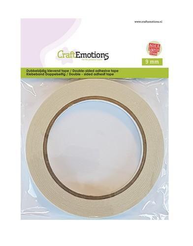 CraftEmotions - Dubbelzijdig klevend tape - 9 mm  - 20 MT