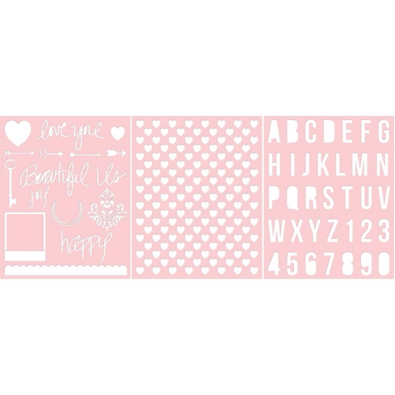 Basically Essential Stencils Love You & Beautiful Us, Heart, Alphabet 3 stuks