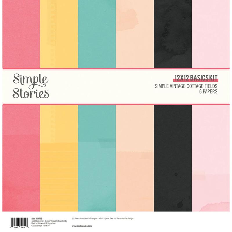 Simple Stories - Simple Vintage Cottage Fields - Basics Kit 30,5 x 30,5 cm