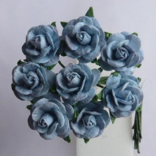 WILD ORCHID CRAFTS - MULBERRY PAPER OPEN ROSES 15 mm Baby Blue - bosje met 10 stuks