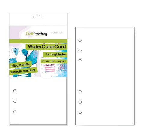 CraftEmotions WaterColorCard - bril. Ringband wit 10 vl 12x20,5cm - 350 gr - 6 Ring A5