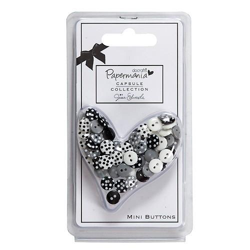 Papermania - Capsule Polka Mini Buttons - Bexley Black