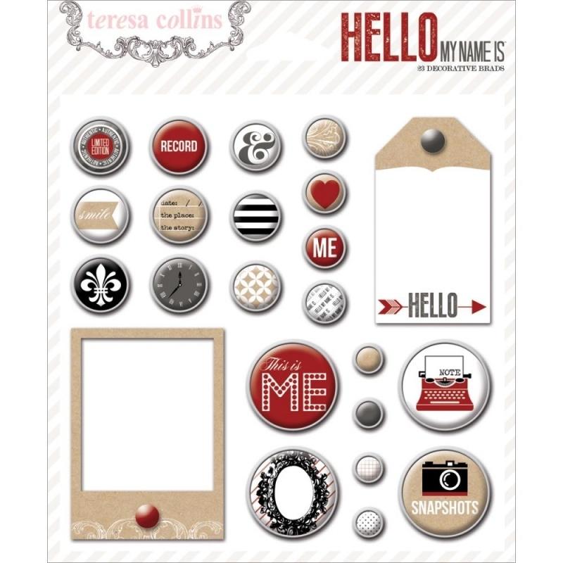 Teresa Collins - Hello My Name Is - Decorative Brads 23 stuks