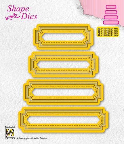 Nellies Choice - Shape Die - set van 4 tags - 5 SD206 80x15mm