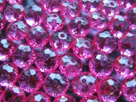 Facet rondel fuchsia 12 bij 7 mm
