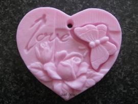Hart love met vlinder en rozen