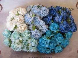 Roosjes Blauw Turquoise Wit mix 30mm 5 stuks