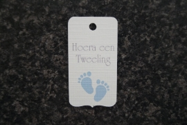 Label Hoera een Tweeling Voetjes Jongen