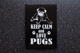 Notitieboekje Keep calm and love Pugs