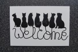 Tekstbord Welcome Katten