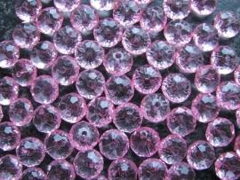 Facet rondel roze 12 bij 7 mm