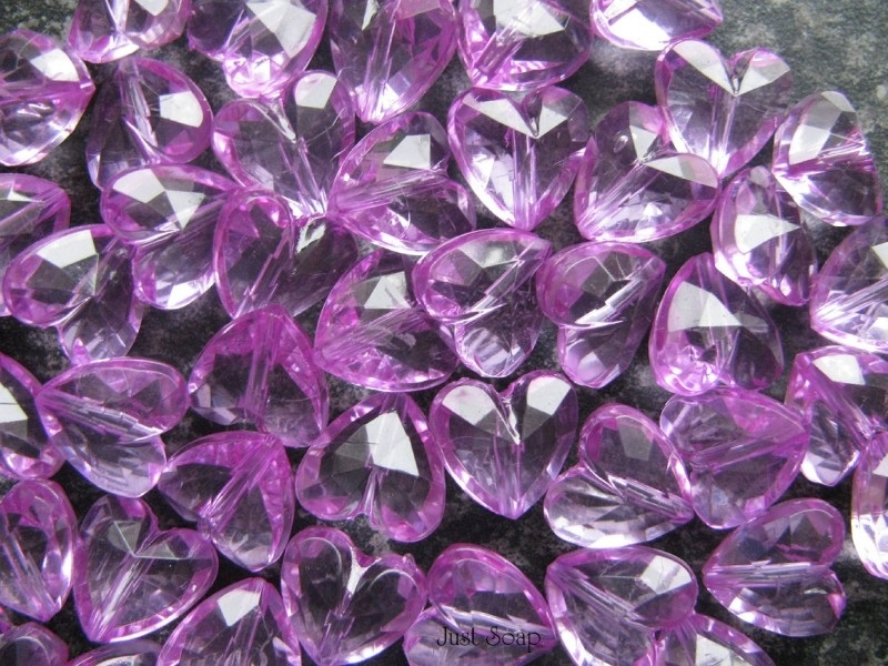 Facet hart 12mm Paars roze