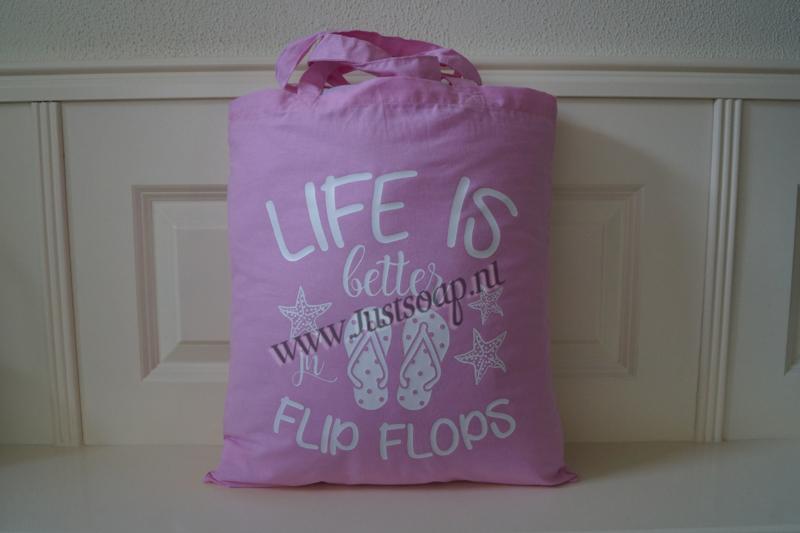 Schoudertas Life is better in flip flops