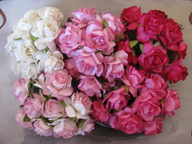 Roosjes Roze Fuchsia Wit mix 30mm 5 stuks