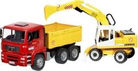 Bruder Truck met Graafmachine