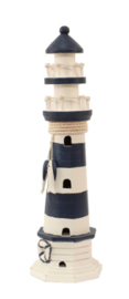 Vuurtoren Blauw/wit 39 cm