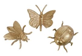 Set goudkleurige insecten