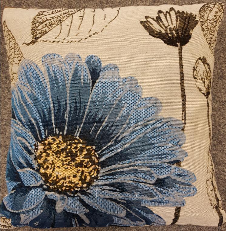 Clayre & Eef Kussen Blauwe bloem