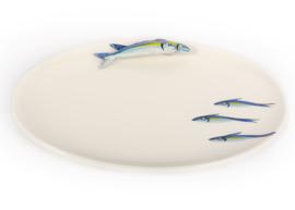 FL18 Ovale schaal sardientjes blauw, groot NIEUW
