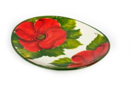 GA80K Ovale platte schaal/bord klaproos
