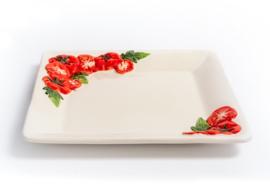 P053 Vierkant dinerbord tomaat