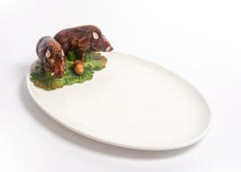FL48 Ovale platte schaal met Everzwijnen