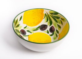 GR601 Ronde diepe schaal met citroen en olijven