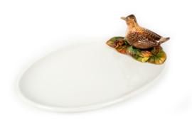 FL49 ovale platte schaal met Houtsnip NIEUW