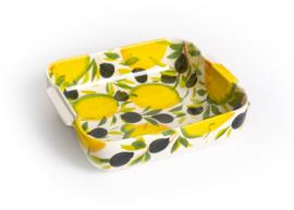 EWCI01 Ovenschaal vierkant met citroenen en olijven