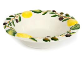 O006 Ronde diepe schaal met olijven en citroenen