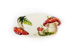 RW02 Ovale schaal paddenstoel rood/witte stippen, klein