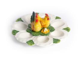 EI01 Schaal voor 7 eitjes met haan en kip
