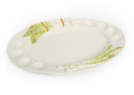 AS06 grote ovale aspergeschaal met eigaten