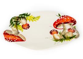 RW05 grote ovale schaal met paddenstoelen rood witte stippen NIEUW