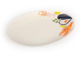 V011 Ovale schaal Vis  zeevruchten NIEUW