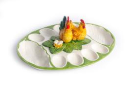 FL44 ovale schaal voor 8 eieren en haan/kip