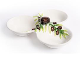 O018 Drie vakschaal olijf met ronde vakken