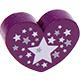 Hartje (XL) Violet met sterretjes