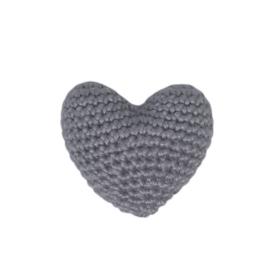Gehaakt 3D Hartje Zilvergrijs mini